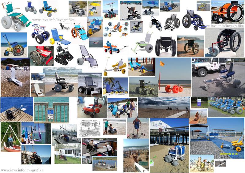 Электрические коляски и коляски с электро приводом для прогулок по песку. Плавающие коляски для купания в море. Подъёмники для пересаживания маломобильных в коляски для купания