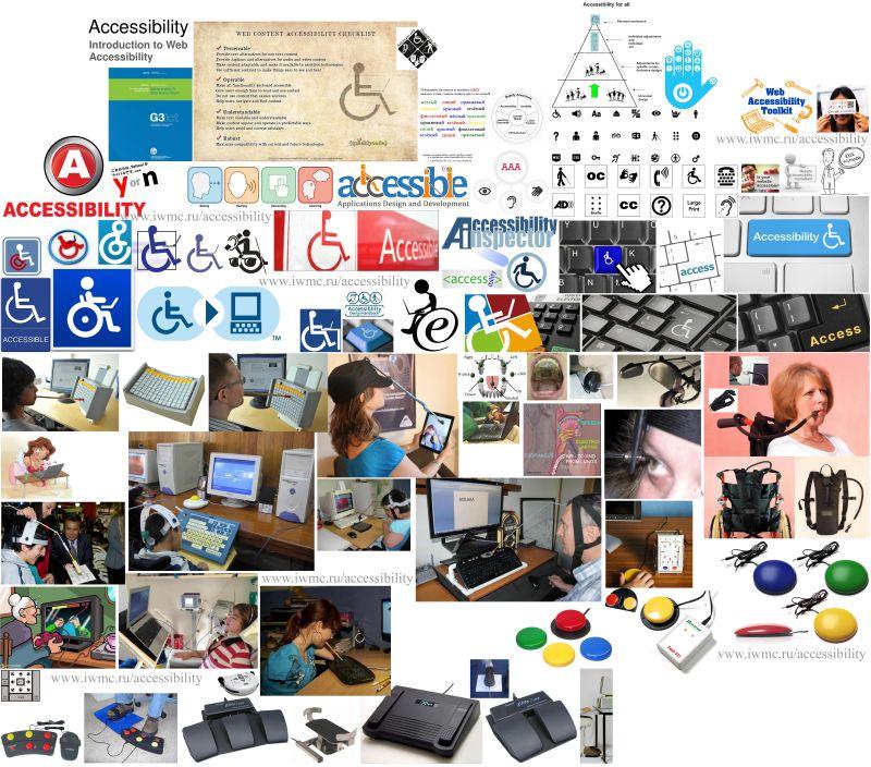 Accessibility, логотипы, инваграфика, ИКТ (Информационно Коммуникационные Технологии) и устройства для инвалидов